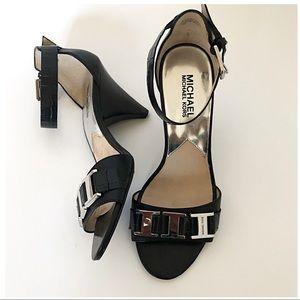 Michael Kors Black Leather High Heel Sandals Sz 7
